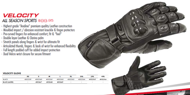 DRIRIDER FEMALE VELOCITY MOTORCYCLE GLOVES