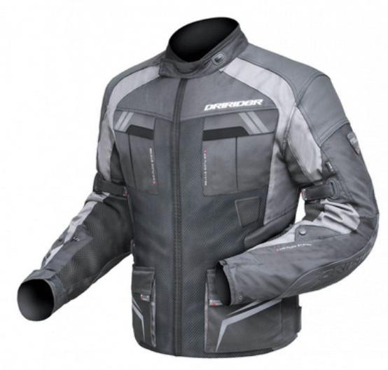 airflow motorcycle jacket textile black grey