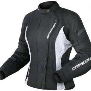 DRIRIDER VIVID LADIES MOTORCYCLE JACKET BLACK WHITE