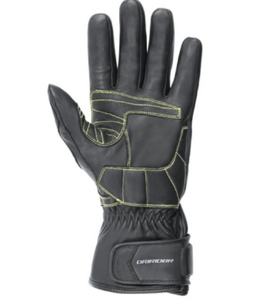 Dririder black gloves with green lining