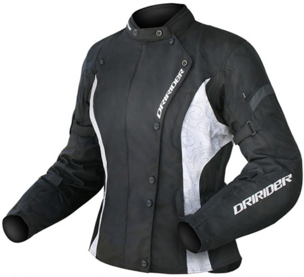 DRIRIDER VIVID Ladies Motorcycle Jacket (black/white)