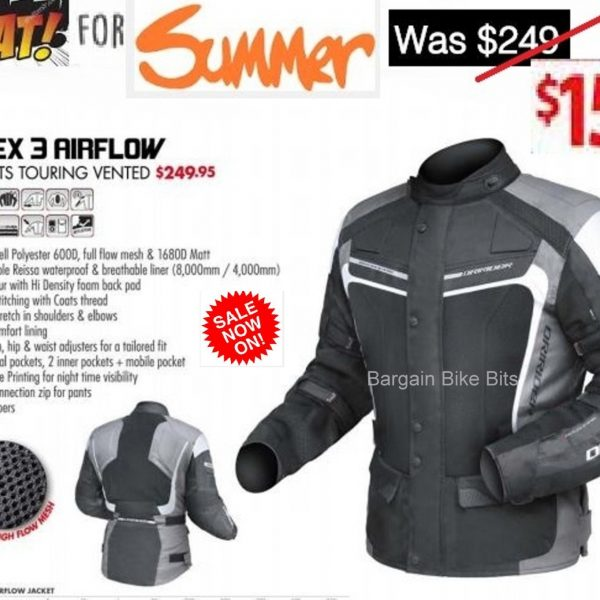 DRIRIDER APEX 3 'AIRFLOW' MOTORCYCLE JACKET (BLACK/GREY/WHITE) (Copy) - image APEX-3-AIRFLOW-NO.3-bbb-600x600 on https://www.bargainbikebits.com.au