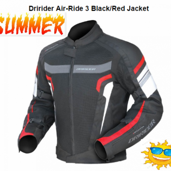 DRIRIDER AIR RIDE 3 VENTED MOTORCYCLE JACKET (Red/black) - image air-ride-red-side-600x600 on https://www.bargainbikebits.com.au