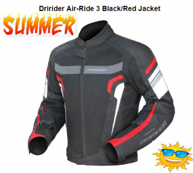 DRIRIDER AIR RIDE 3 VENTED MOTORCYCLE JACKET (Red/black) - image air-ride-red-side on https://www.bargainbikebits.com.au