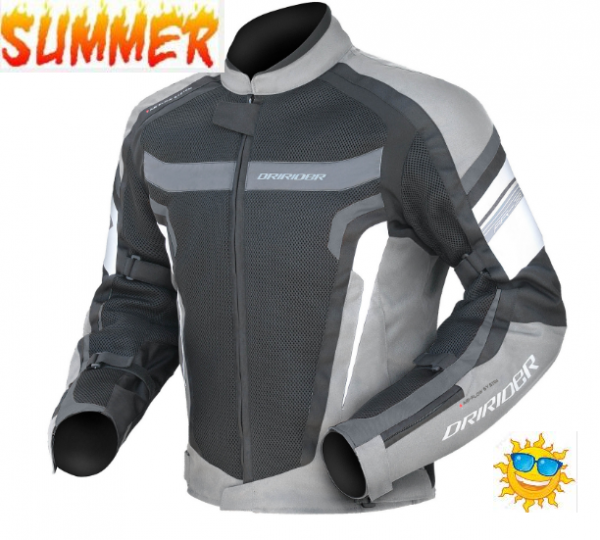 VENTED MOTORCYCLE JACKET Silver/black