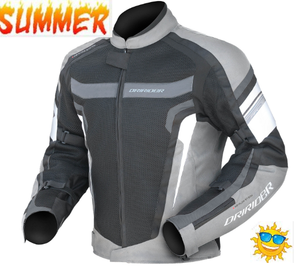 DRIRIDER AIR RIDE 3 VENTED MOTORCYCLE JACKET (Silver/black) - image silver-black-1-600x551 on https://www.bargainbikebits.com.au
