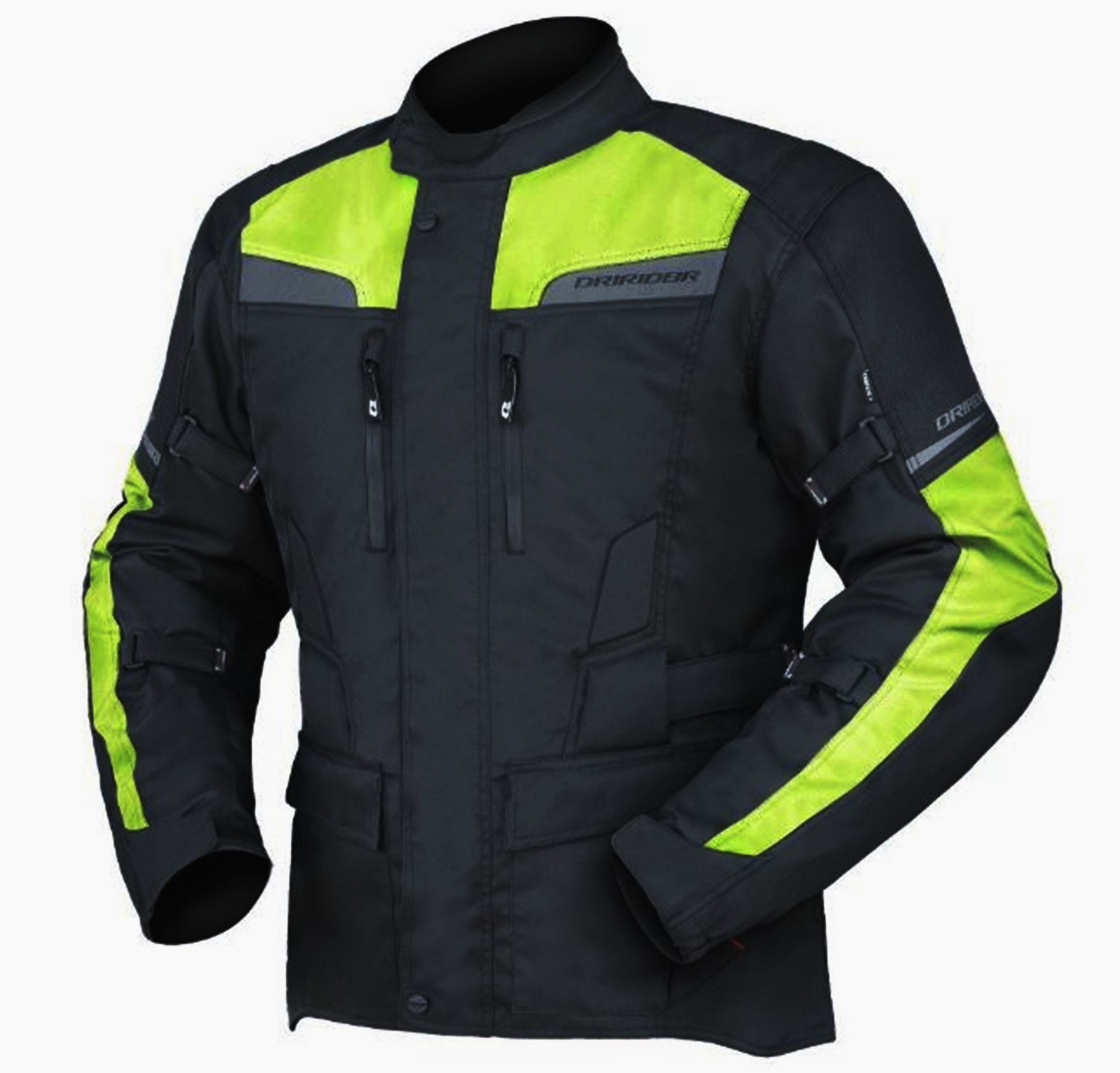 Summer Motorcycle Jacket >> DRIRIDER COMPASS 2 Motorcycle Jacket HI VIZ Fluoro Yellow - Bargain Bike Bits