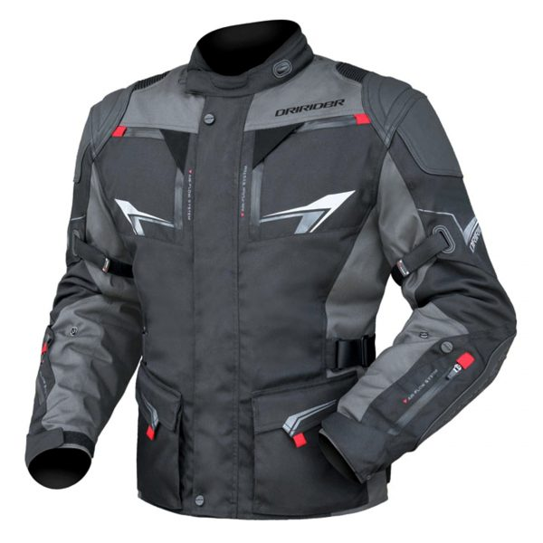 DRIRIDER NORDIC 3 Motorcycle Jacket Leather/textile (Black/grey) - image Nordic-3-600x600 on https://www.bargainbikebits.com.au