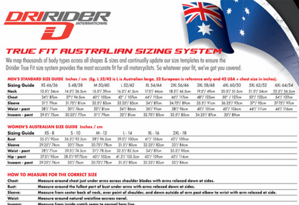 DRIRIDER SCRAMBLER Motorcycle Jacket Classic Black - image dririder-sizing-chart-600x413 on https://www.bargainbikebits.com.au
