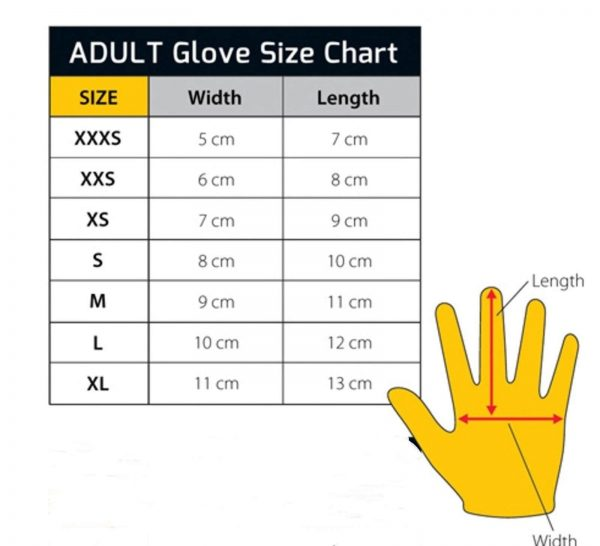 Gloves size chart for adult