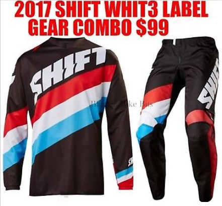 SHIFT Whit 3 Tarmac Youth Kids Motocross Pants & Jersey Combo Black/blue/red - image 5 on https://www.bargainbikebits.com.au