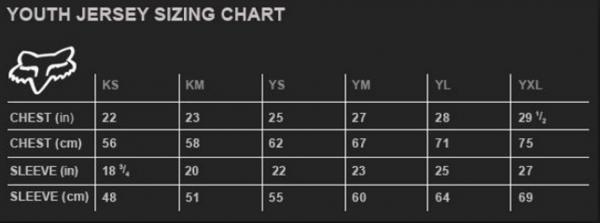 Fox Youth jersey sizing chart