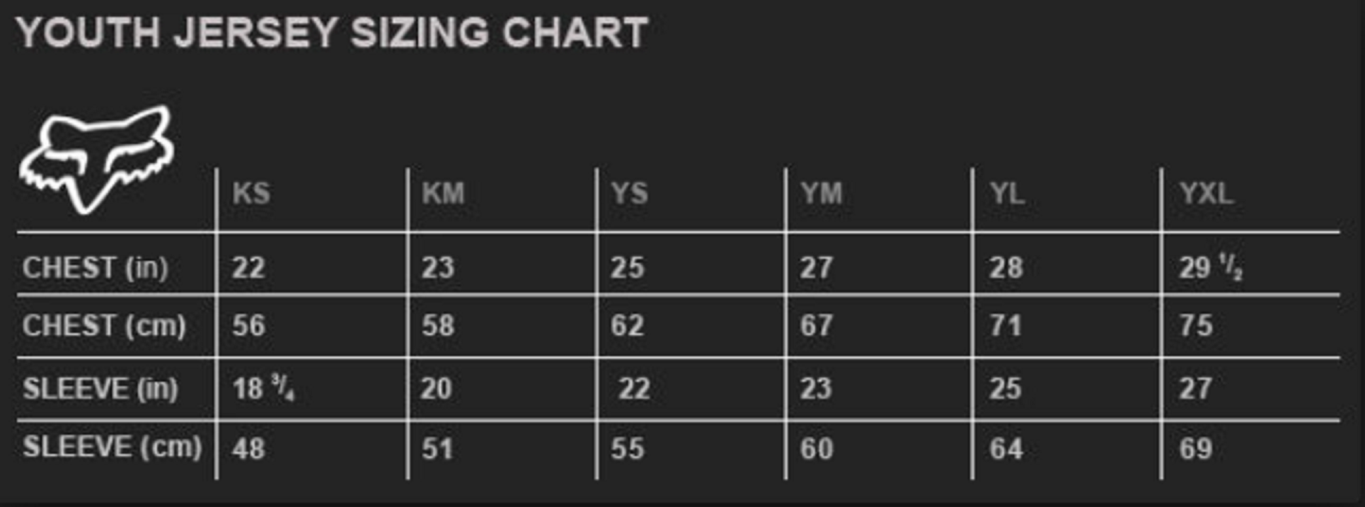 Fox Jersey Youth Sizing Chart - Ortsplanungsrevision Stadt Thun