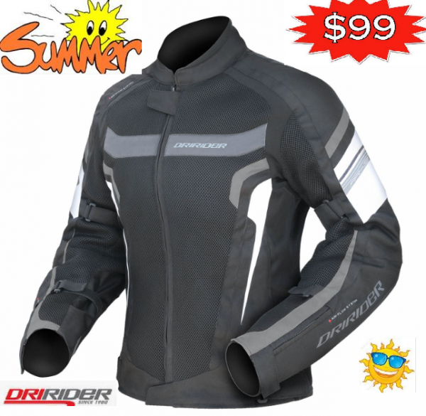 Motorcycle Jacket Ladies black white grey