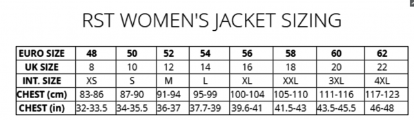 RST LADIES SIZING CHART