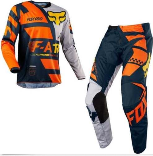 Fox Sayak Youth Kids motocross pants & jersey combo (KTM orange) - image sayak-2018 on https://www.bargainbikebits.com.au