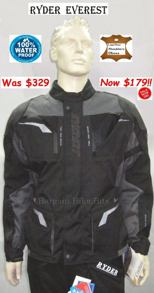 Ryder Cordura/Leather Motorcycle Jacket (black/grey) - image 1-bbb-use-600x1144 on https://www.bargainbikebits.com.au
