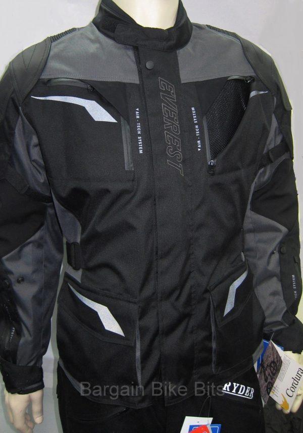 Ryder Cordura/Leather Motorcycle Jacket (black/grey) - image 2-bbb-600x858 on https://www.bargainbikebits.com.au