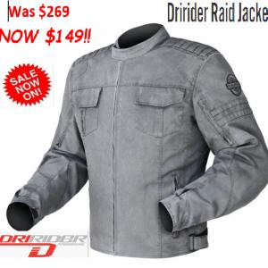 Dririder Apex 4 Motorcycle Jacket (black/grey/white) - image RAID-300x300 on https://www.bargainbikebits.com.au