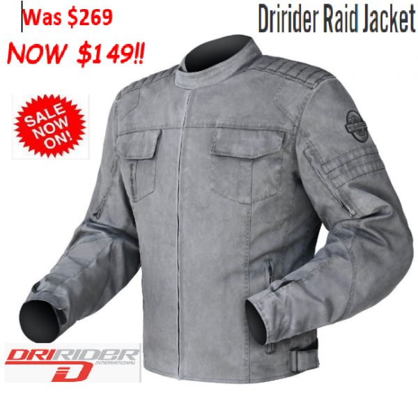 Dririder Raid Motorcycle Casual Vintage look Jacket - image RAID-600x571 on https://www.bargainbikebits.com.au