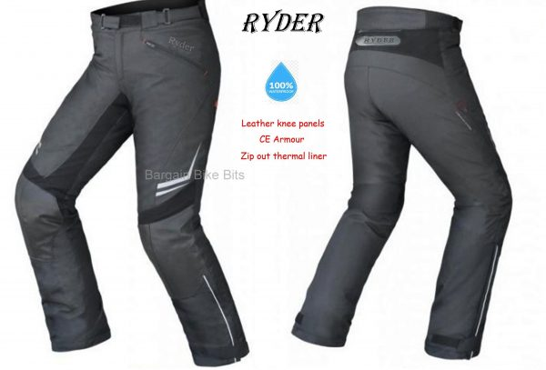 Ryder motorcycle pants NEW! Waterproof LEATHER KNEE PANELS - image Ryder-pants-bbb-no.2-600x407 on https://www.bargainbikebits.com.au