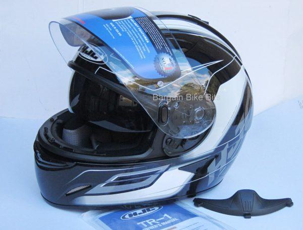 HJC TR-1 Skyride Motorcycle Helmet WITH SUNVISOR Black - image black-side-front-3-1-600x456 on https://www.bargainbikebits.com.au