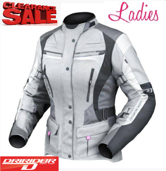 Dririder Female Apex 4 Motorcycle Jacket (grey/black) - image ladies-grey-apex-4 on https://www.bargainbikebits.com.au