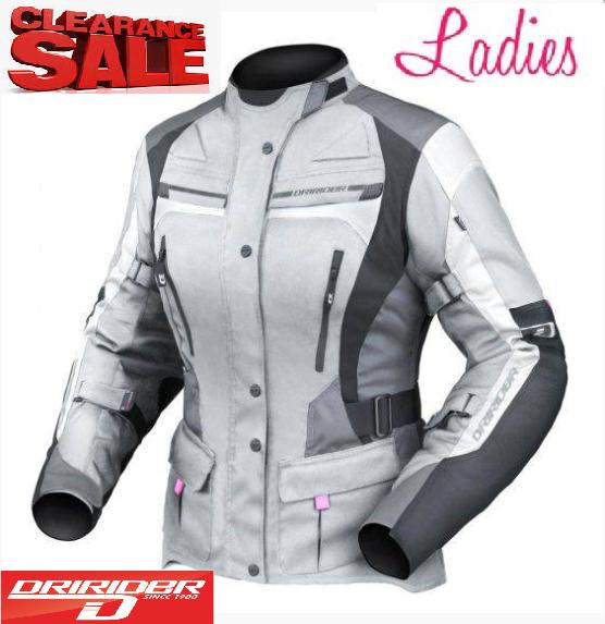 Dririder Female Apex 4 Motorcycle Jacket (grey/black) - image ladies-grey-apex-4 on https://www.bargainbikebits.com.au