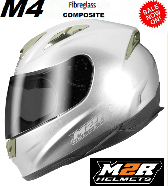 M2R M4 Motorcycle Helmet NEW Silver FIBREGLASS COMPOSITE - image M4-SILVER-4 on https://www.bargainbikebits.com.au