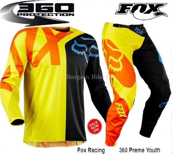 Fox 360 Preme Youth Kids motocross pants & jersey combo (orange/yellow) - image fox-360-Preme-bbb-600x536 on https://www.bargainbikebits.com.au