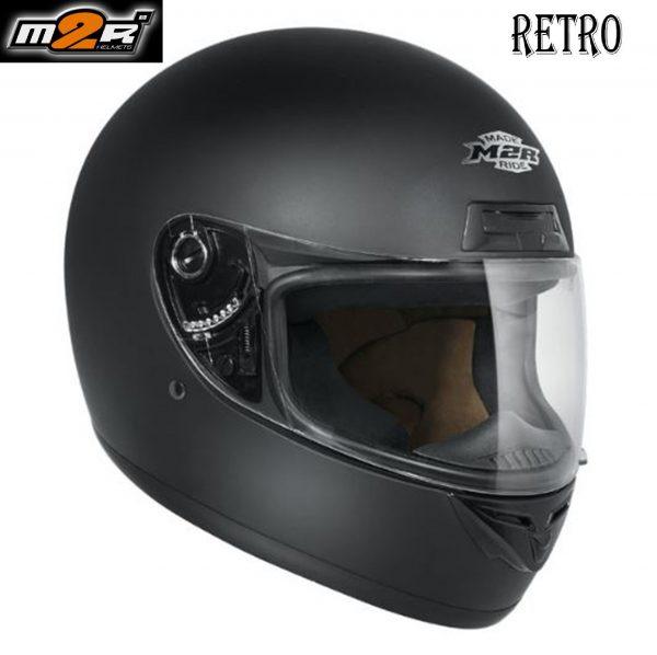 M2R Retro M1 Motorcycle Helmet  (matt black) - image retro-matt-600x598 on https://www.bargainbikebits.com.au