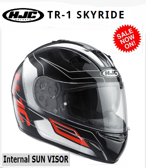 HJC TR-1 Skyride Motorcycle Helmet WITH SUNVISOR Red - image SKYRIDE-RED on https://www.bargainbikebits.com.au
