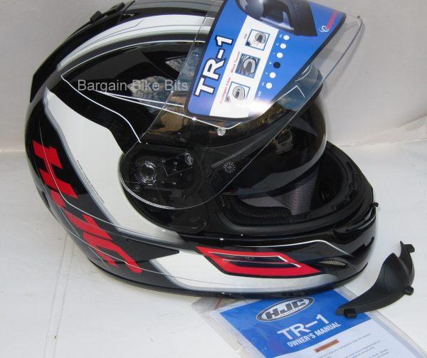 HJC TR-1 Skyride Motorcycle Helmet WITH SUNVISOR Red - image red-side-visor-open-4-600x503 on https://www.bargainbikebits.com.au