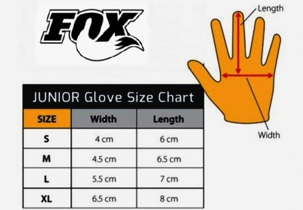 Fox 'DIRTPAW' Youth Kids Motocross gloves yellow - image Youth-glove-sizing-chart-600x416 on https://www.bargainbikebits.com.au