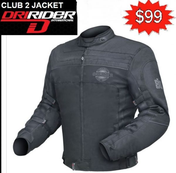 Dririder CLUB 2 Motorcycle Retro Road Jacket (black) 6XL 8XL - image club-2-black-600x591 on https://www.bargainbikebits.com.au