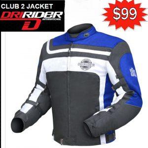 Dririder CLUB 2 Motorcycle Retro Road Jacket (black/blue) - image club-2-blue-300x300 on https://www.bargainbikebits.com.au
