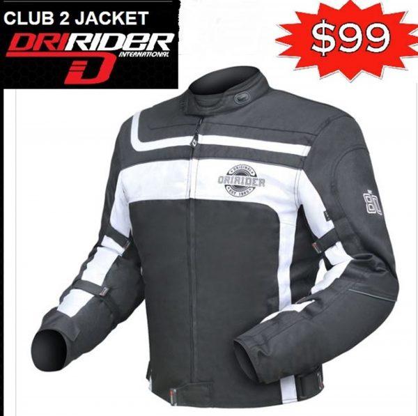 Dririder CLUB 2 Motorcycle Retro Road Jacket (black/white) - image club-2-white-600x597 on https://www.bargainbikebits.com.au