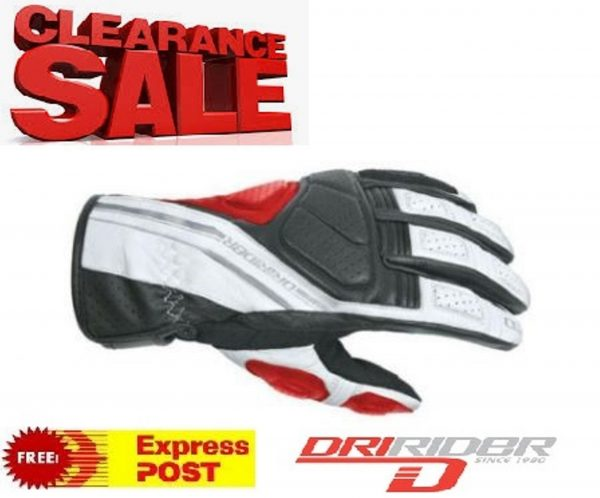 Dririder 'Phantom' Leather Motorcycle Gloves Black/Red - image red-600x498 on https://www.bargainbikebits.com.au
