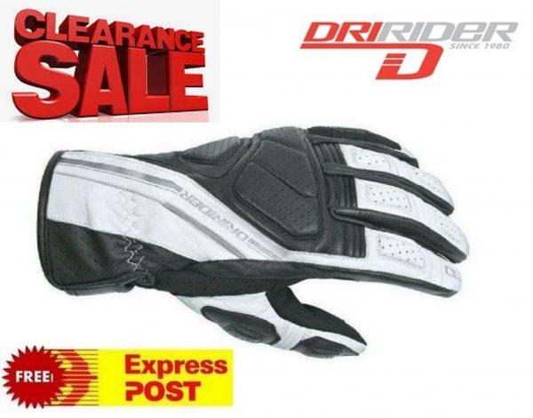 Dririder 'Phantom' Leather Motorcycle Gloves Black/White - image white-600x470 on https://www.bargainbikebits.com.au