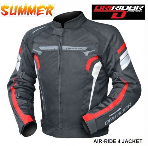DRIRIDER AIR RIDE 4 Vented Motorcycle Jacket (red) - image blk-red-600x592 on https://www.bargainbikebits.com.au