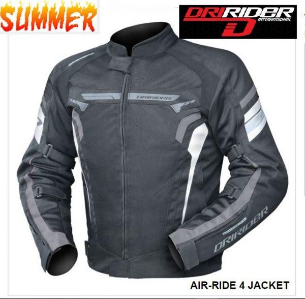 DRIRIDER AIR RIDE 4 Vented Motorcycle Jacket (black/white/grey) - image blk-white-grey-600x588 on https://www.bargainbikebits.com.au