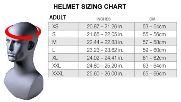 Fox V1 Motocross Helmet KTM Orange/blue Off Road MX - image Adult-Helmet-Size-Chart-600x338 on https://www.bargainbikebits.com.au