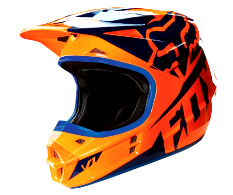 Fox V1 Motocross Helmet KTM Orange/blue Off Road MX - image orange-blue on https://www.bargainbikebits.com.au