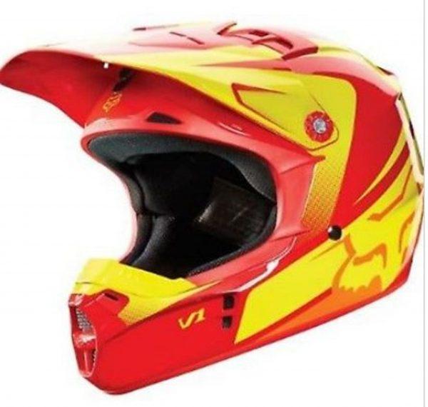 Fox V2 Motocross Helmet KTM Orange - image v2-orange-yellow-600x570 on https://www.bargainbikebits.com.au