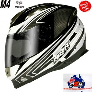 M2R M1 Motorcycle Road Helmet  (gloss black) - image M2R-M4-Octane-black-white-silver-300x300 on https://www.bargainbikebits.com.au