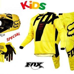 Fox Youth Kids dirt bike pants, jersey, helmet & gloves combo (Suzuki yellow) Motocross BMX MX - image bbb-combo-helmet-1-300x300 on https://www.bargainbikebits.com.au