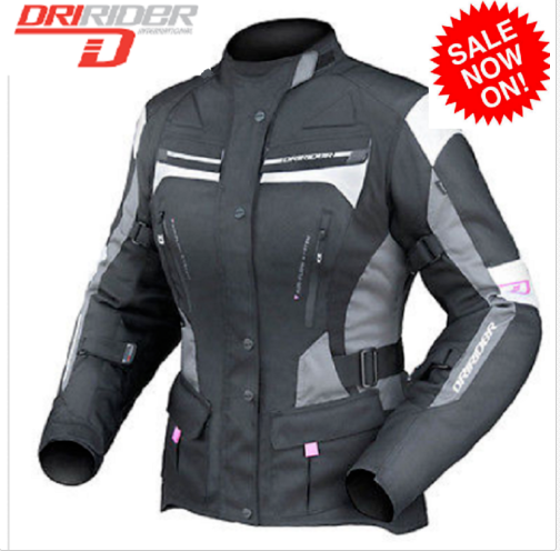 Dririder Female Apex 4 Motorcycle Jacket (black) Ladies Womens - image ladies-Apex-4-blk-grey-white on https://www.bargainbikebits.com.au